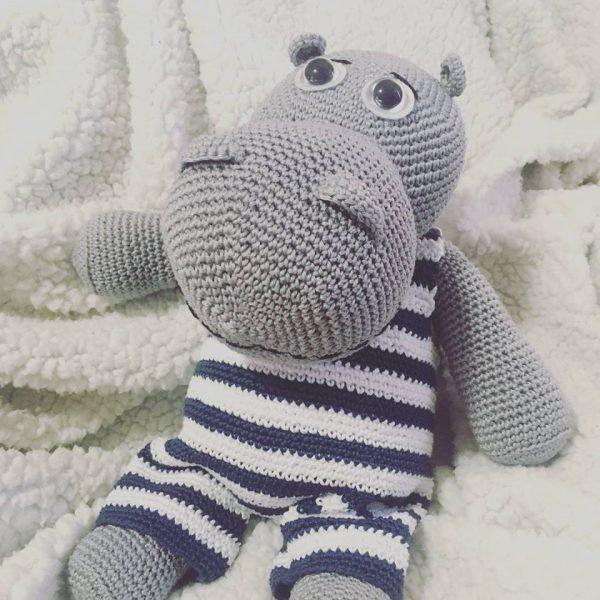 Hippo amigurumi toy